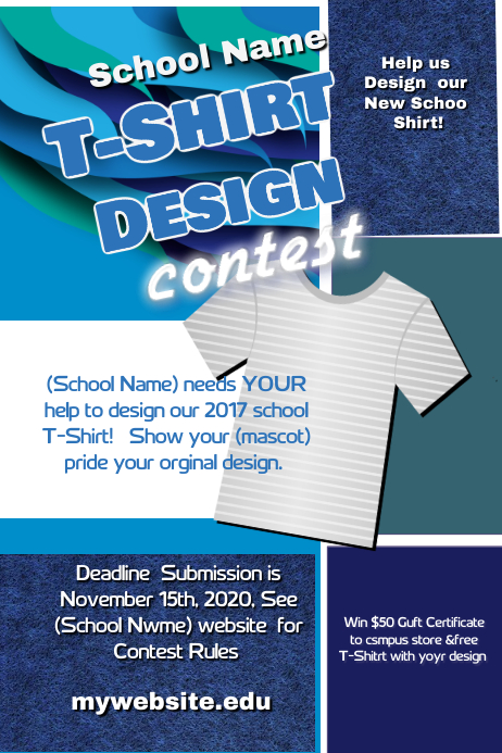 School T shirt Design Contest Cartaz template