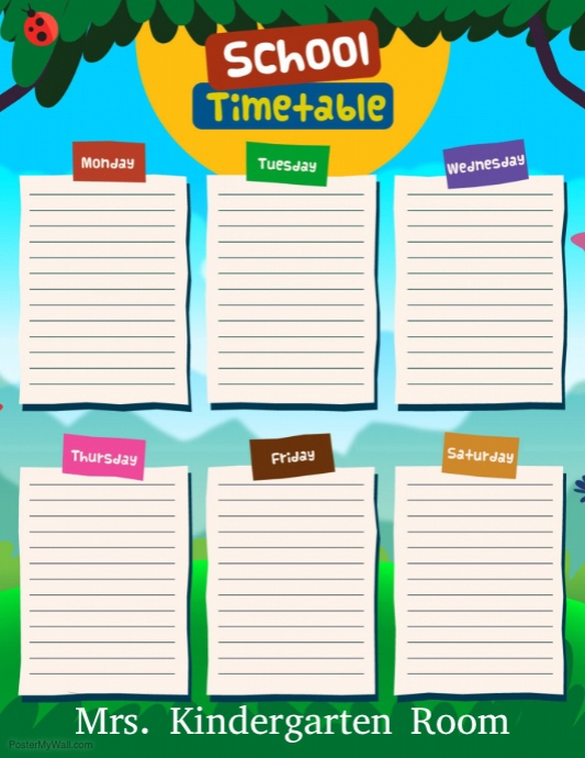 Classroom Cleaners Design ~ Copie de school time table postermywall
