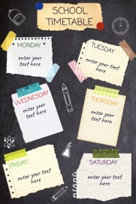 School Timetable Affiche template