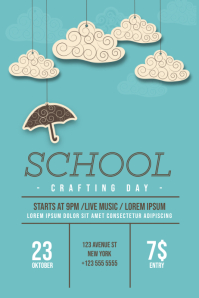 School Winter autumn crafting day flyer template