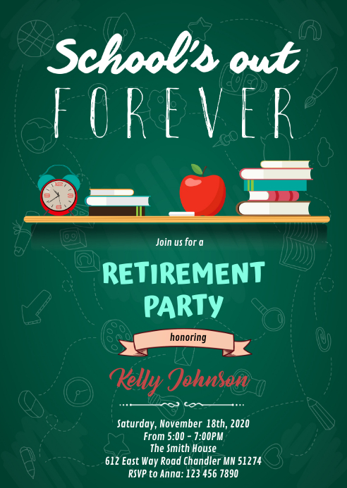 Schools out forever retirement party A6 template