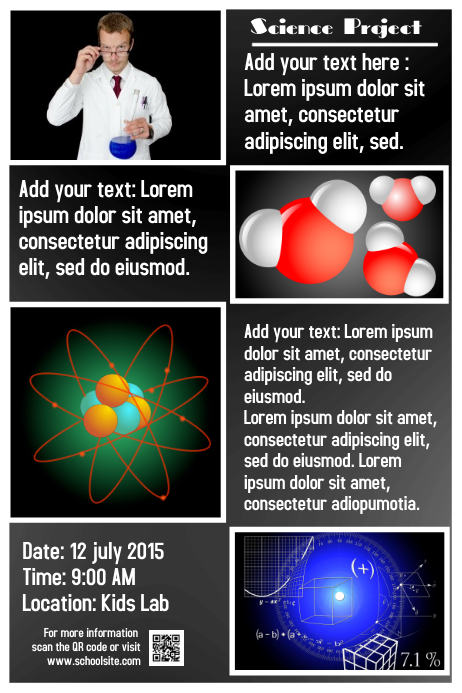 Fully editable science poster - Topics: physics and chemistry