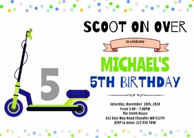 Scooter Birthday Invitation A6 template