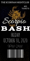 Scorpio celebration bash party event ticket Ibhana Eligoqekela Phezulu 3' × 6' template