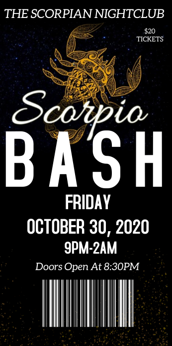 Scorpio celebration bash party event ticket Roll Up Banner 3' × 6' template