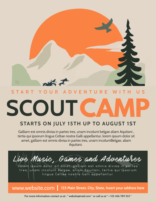 scout camp flyer advertising online template