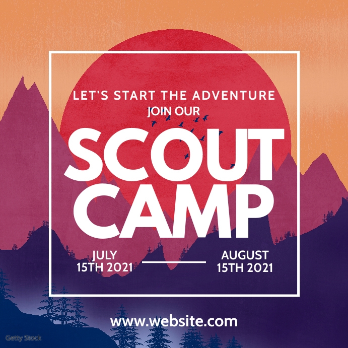 scout camp instagram post advertising template
