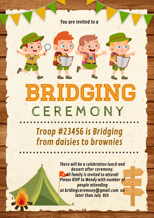 Scout recruitment Bridging Ceremony A6 template