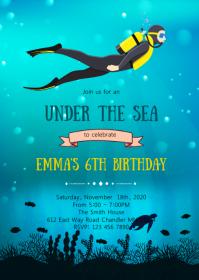 Scuba diving birthday party invitation