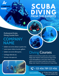 scuba diving flyer advertising light blue and Ulotka (US Letter) template