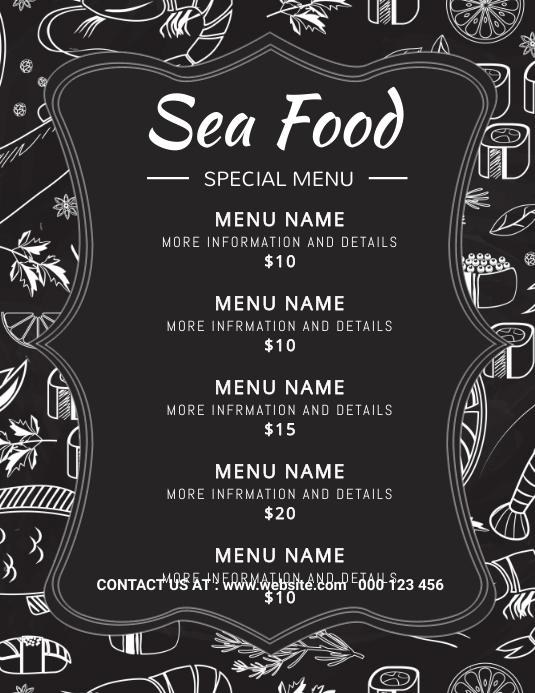 Sea food,seafood,menu 传单(美国信函) template