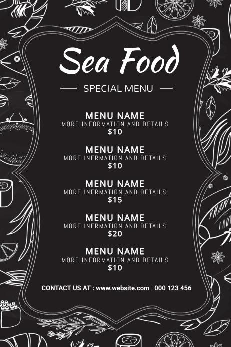 Sea food,seafood,menu 海报 template