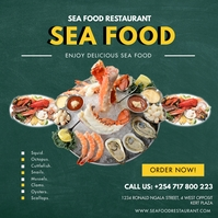 SEA FOOD RESTAURANT FLYER Instagram na Post template