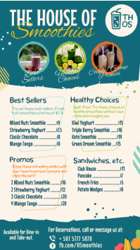 Sea Green Smoothie Menu Digital Display Templ Ekran reklamowy (9:16) template