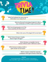 Sea Green Trivia Answer Sheet Flyer Template