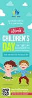 Sea Green World Children's Day Banner Bannière 2' × 6' template