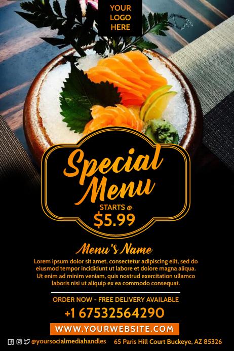Seafood Menu Design 海报 template