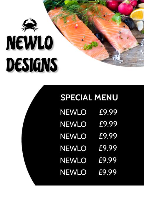 Seafood Menu Design A4 template