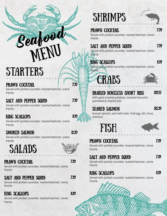 Seafood Menu Design 传单(美国信函) template
