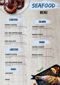 Seafood Menu A4 template