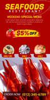 Seafood Menu Roll Up Banner template