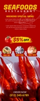 Seafood Menu Roll Up Banner 易拉宝 2' × 5' template