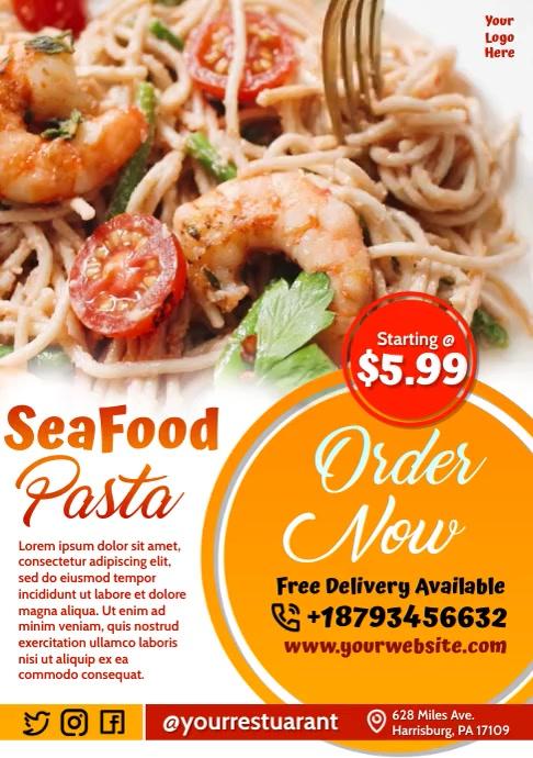 Seafood Menu Video Design A4 template