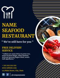 Seafood restaurant flyer advertisement delive template