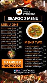 seafood restaurant menu Pantalla Digital (9:16) template