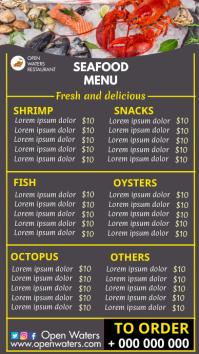 seafood restaurant menu Digital Display (9:16) template