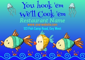Seafood Restaurant Postcard Advertisement Postkort template