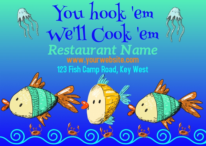 Seafood Restaurant Postcard Advertisement template