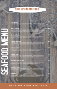 Seafood Rustic Restaurant Menu Half Page Wide template