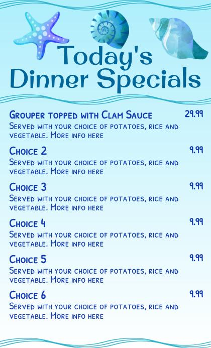 Seafood Specials Menu Template Amerikansk lov
