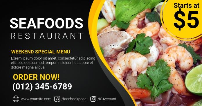 Seafoods Restaurant delt Facebook-billede template