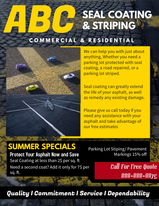 Seal Coating And Striping Service Flyer template