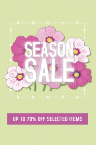 seasib spring or summer sale flyer template pink flowers