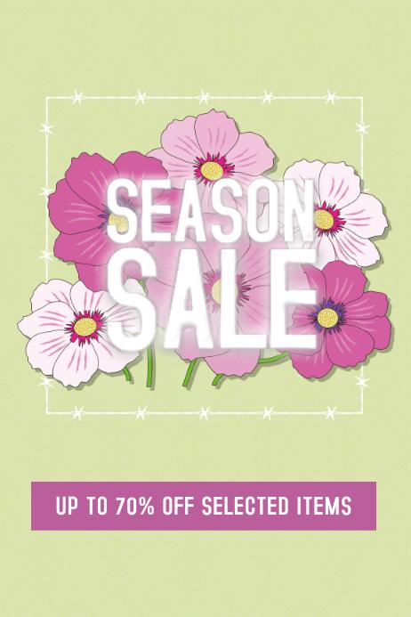 seasib spring or summer sale flyer template pink flowers