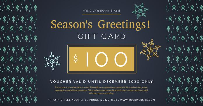 Season Greetings Blue Gift Card