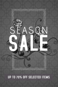 season or fashion sale grey flyer template