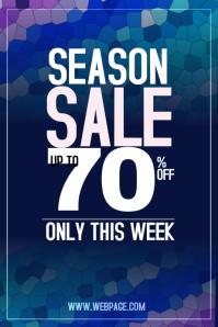 season sale blue portrait dicount poster template