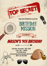Secret agent birthday party invitation A6 template