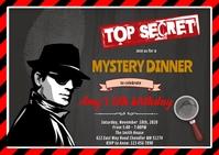 Secret agent birthday theme invitation A6 template