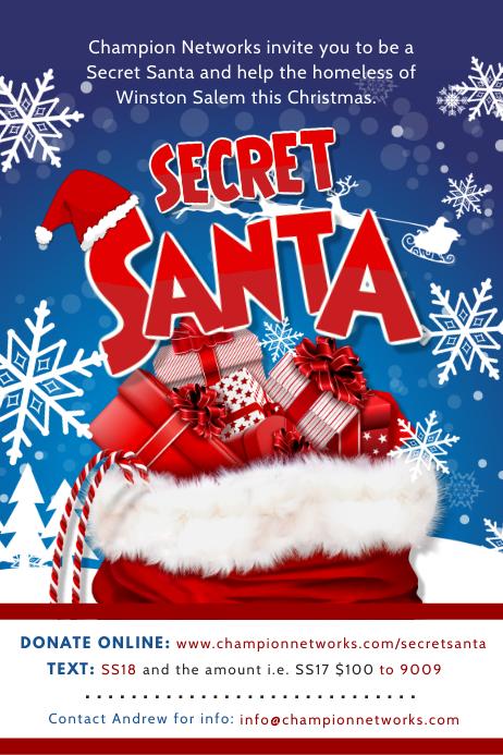Christmas Fundraiser Flyer.Secret Santa Fundraiser Poster Design Template Postermywall