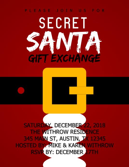 Secret Santa Gift Exchange Templat Postermywall