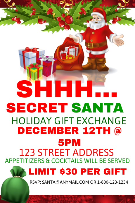 Secret Santa Holiday Gift Exchange Template Postermywall