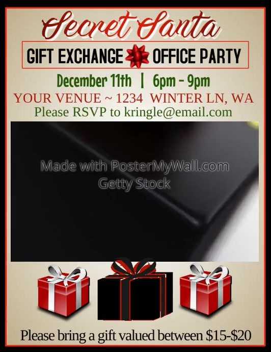 Secret Santa Video Flyer Template  Postermywall