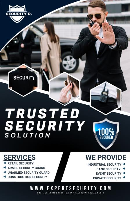 security service flyer Halve pagina breed template