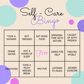 self care bingo, bingo, health, covid 19 Instagram Post template