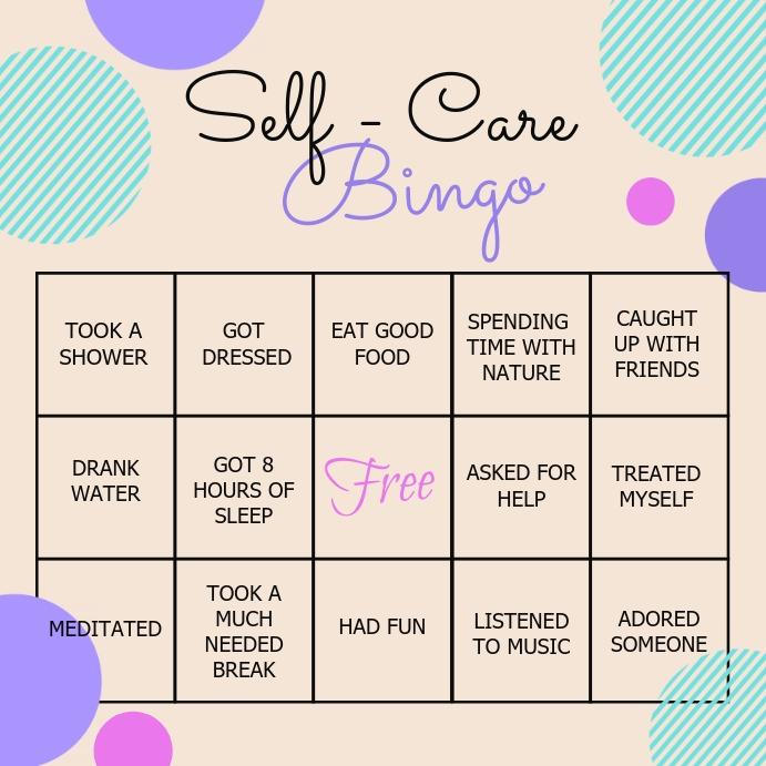 self care bingo, bingo, health, covid 19 Instagram Plasing template